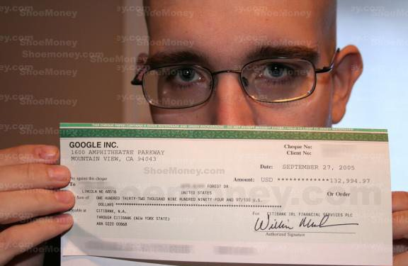 Shoemoney's Adsense check