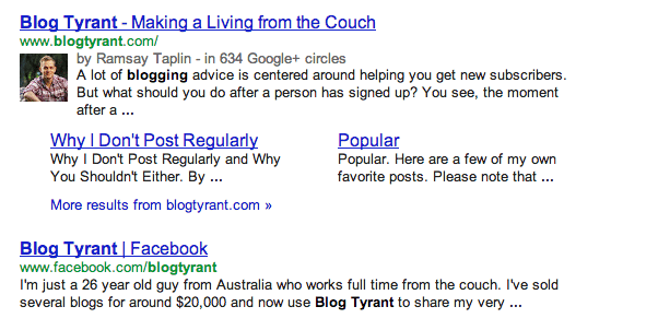 Google Authorship photo in search results