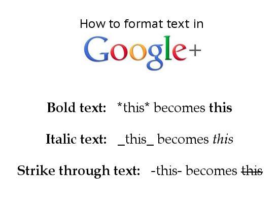 Google Plus format text