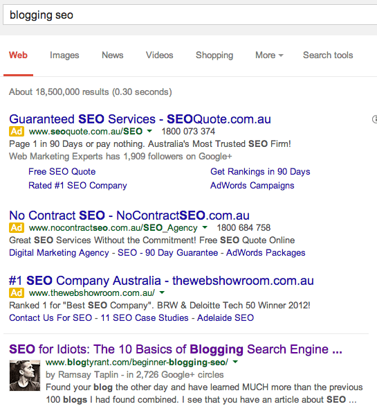 blogging seo search result