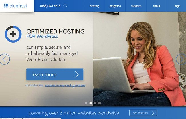 blue host landing page