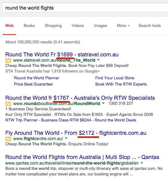 resultados de búsqueda de vuelos alrededor del mundo