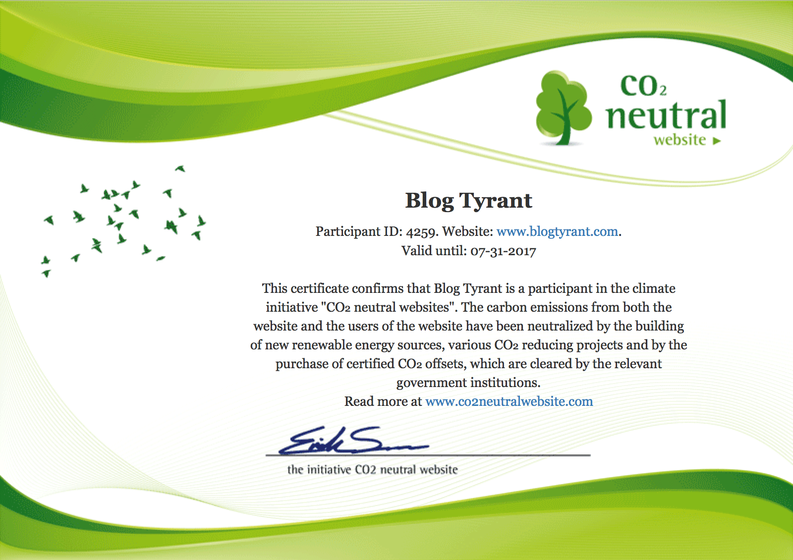 carbon neutral website certificate