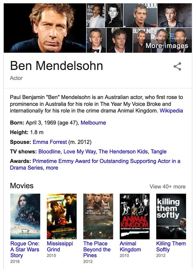 ben result in google