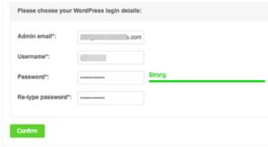 Enter Installation details - WordPress on Siteground