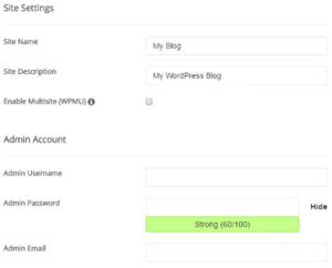 Enter your details - install WordPress on SIteground