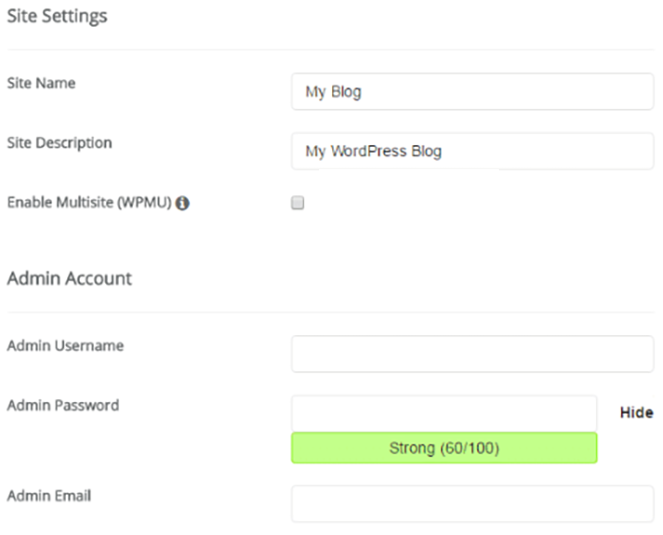Enter your details - install WordPress on SIteground