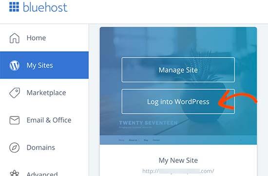 Click on Login - WordPress on Bluehost