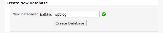 Click on Create database - Install WordPress using FTP