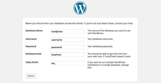 Click on 'submit' - Install WordPress using FTP