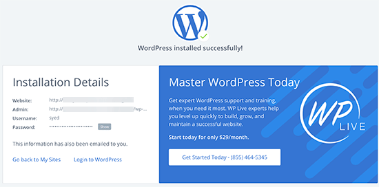 Success Mesage - install WordPress on bluehost