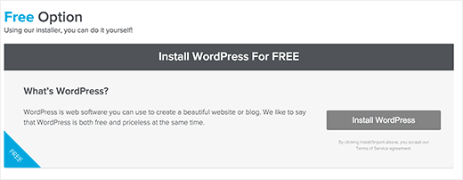 Install WordPress with Quick Install