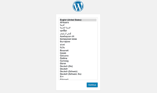 Choose Language - Install WordPress using FTP