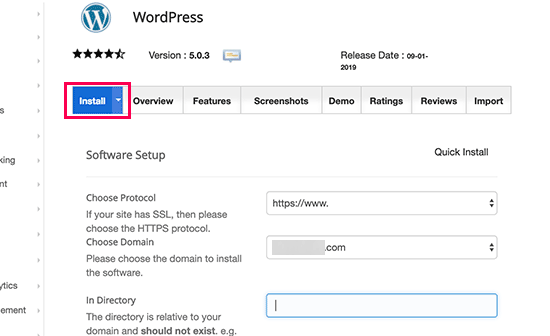 Click on Install - WordPress on Siteground