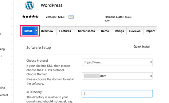 Click on Install - Install WordPress with Softaculous