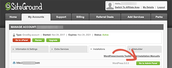 Click on visit admin panel - Install WordPress on Siteground