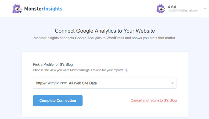 Connect Google Analytics with MonsterInsights