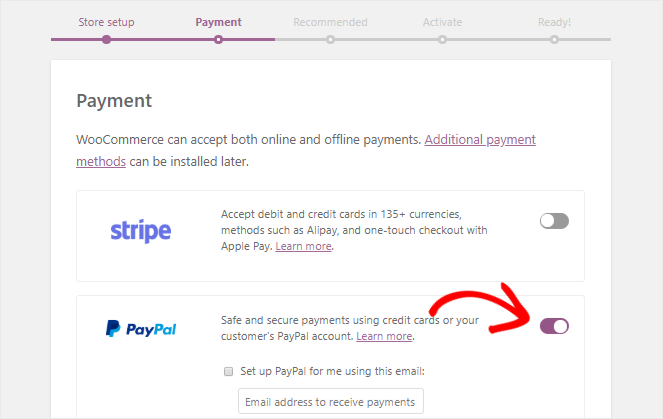 Setting up online payment options