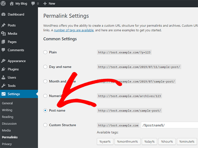 change your WordPress blog permalink settings so your links look better