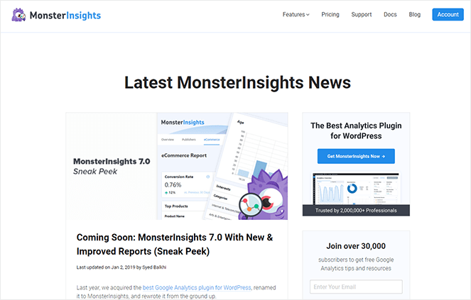 MonsterInsights sneak peak type of blog post