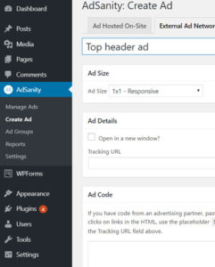create ads in adsanity