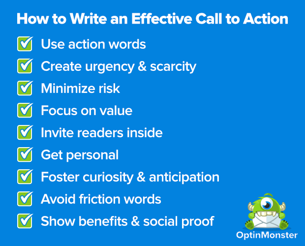 Tips for writing a blog post - include a call to action