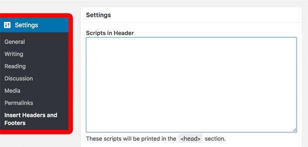 insert header with plugin