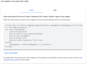 place ad code