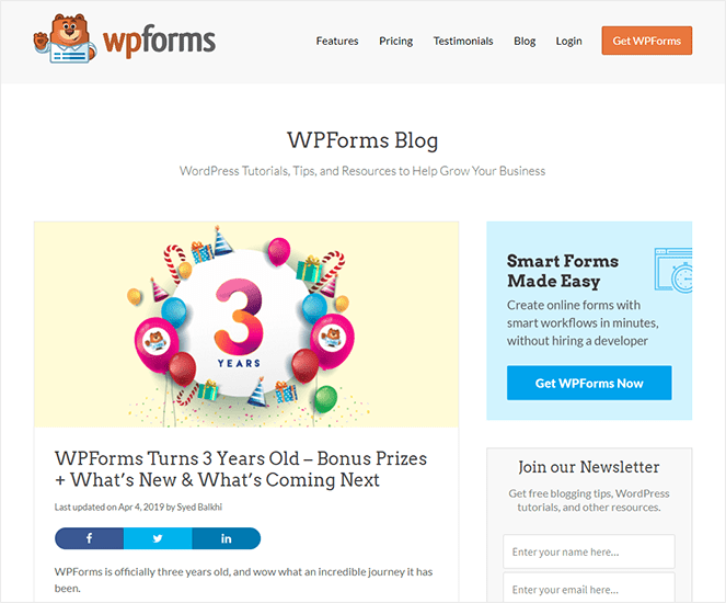 WPForms anniversary type of blog post