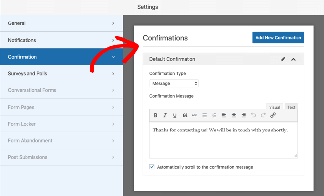 WPForms confirmation setting