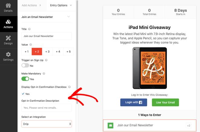 Opciones de participación en el sorteo de RafflePress