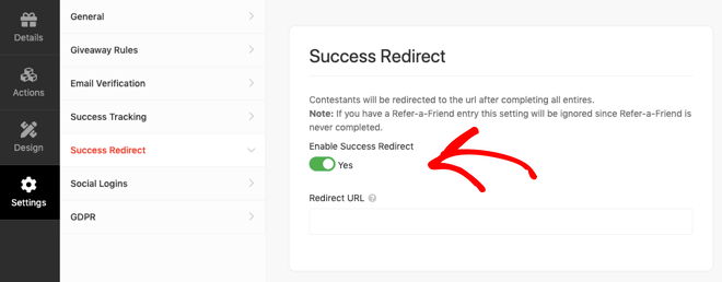 RafflePress Success Redirect Setting