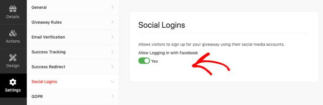 RafflePress social login settings