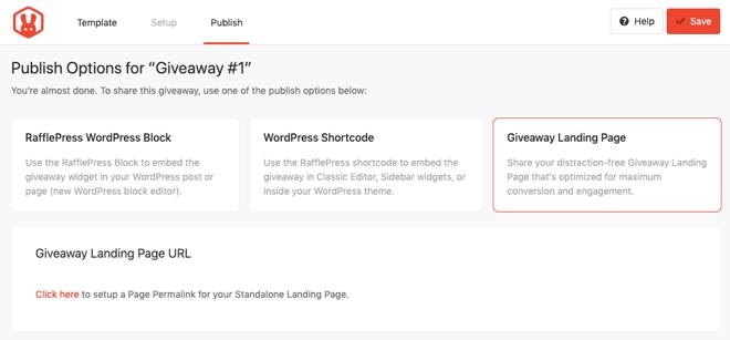 RafflePress Publish Options