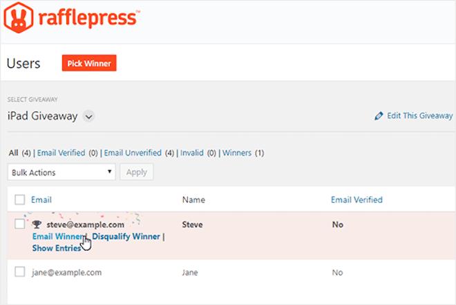RafflePress pick a winner