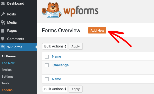 Add a new form in WPForms