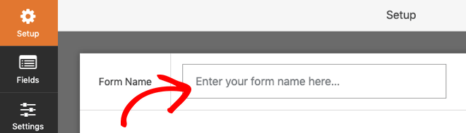 Enter the form name