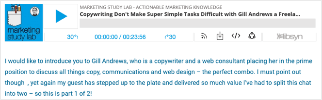 gill andrews guest podcast on marketing study lab