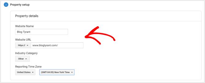 enter web property details