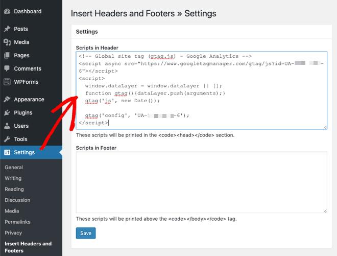 insert script in header