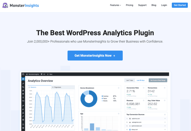Plugin d'analyse WordPress MonsterInsights