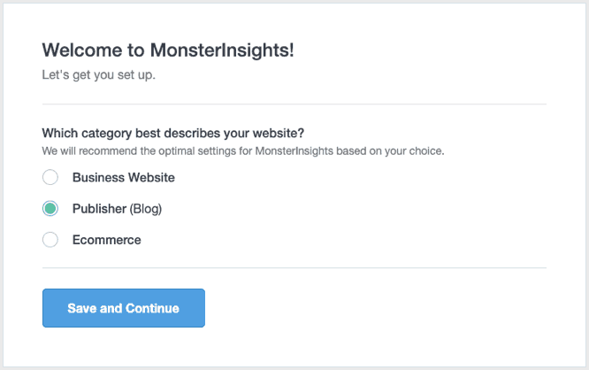 monsterinsights setup 1
