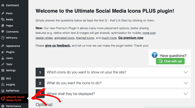 ultimate social icons plugin welcome screen