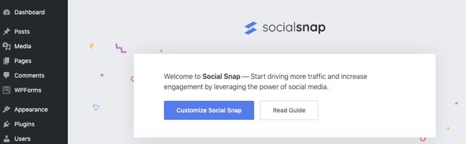 social snap plugin welcome screen