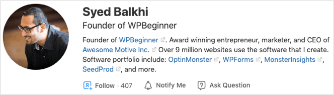 example of quora author bio