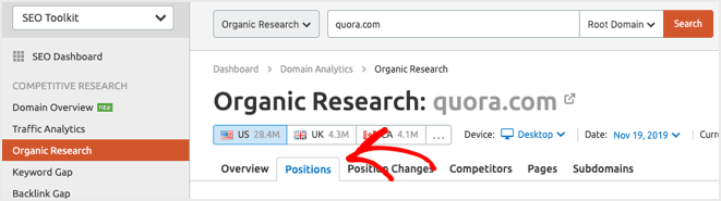 semrush quora example