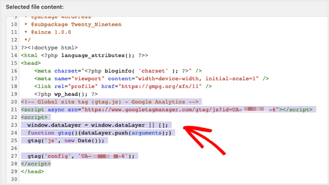 add the google analytics script code to the theme header
