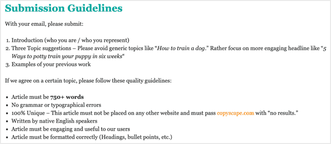 woofdog submission guidelines for guest posts