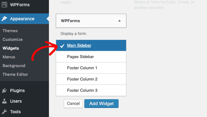 Add WPForms widget to sidebar