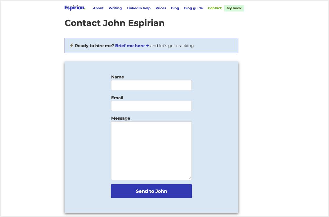espirian contact page